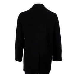 Shop Calvin Klein Men S Black Wool Cashmere Blend Long