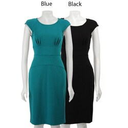 Calvin Klein Women's Cap Sleeve Ponte Sheath Dress - Thumbnail 1
