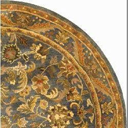 Safavieh Handmade Exquisite Blue/ Gold Wool Rug (8' Round)