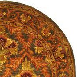 Safavieh Handmade Kerman Sage/ Gold Wool Rug (4'6 x 6'6 Oval) - Thumbnail 1
