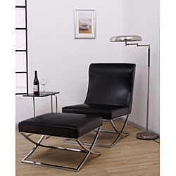Milano Black Leather Lounger Chair - Thumbnail 1