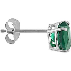 Miadora 10k Gold Heart-shaped Created Emerald Earrings - Thumbnail 1