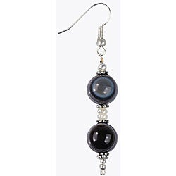 Silver Agate and Freshwater Pearl Earrings (Thailand)