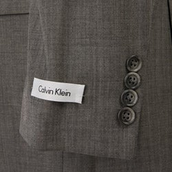 Calvin Klein Men's Grey Sharkskin Wool 2-button Suit - Thumbnail 1