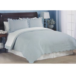 Coventry Pale Blue Matelasse Quilt Set