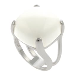 Journee Collection Sterling Silver Synthetic White Onyx Cocktail Ring - Thumbnail 1