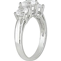 10k White Gold Created White Sapphire 3-stone Ring - Thumbnail 1