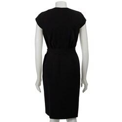 Thumbnail 2, Calvin Klein Women's Black Snap-front Cap Sleeve Dress. Changes active main hero.