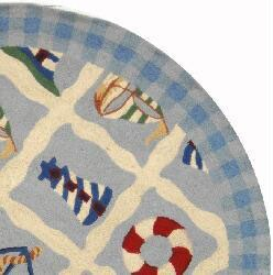 Safavieh Hand-hooked Sailor Ivory Wool Rug (5' 6 x 5' 6 Round) - Thumbnail 1
