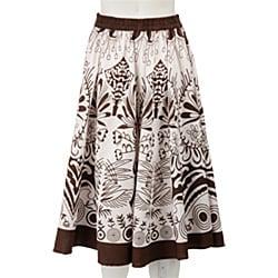 Studio West White/ Brown Allover Print Circle Skirt - Thumbnail 1