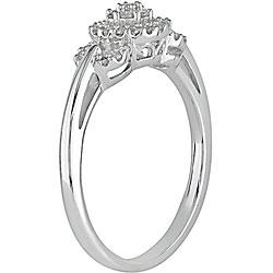 Miadora 10k White Gold 1/5ct TDW Diamond Halo Ring - Thumbnail 1