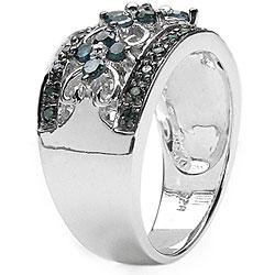 Sterling Silver 1/2ct TDW Genuine Blue Diamond Ring - Thumbnail 1