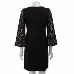 Jessica Howard Womens Lace Burnout Sleeve Ponte Dress