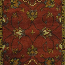 Indian Red/ Green Wool Rug (3'3 x 5'3) - Thumbnail 1