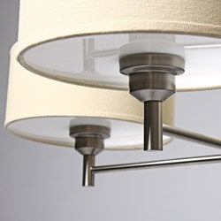 Chrome-plated Wood Accent 4-shade Chandelier - Thumbnail 1