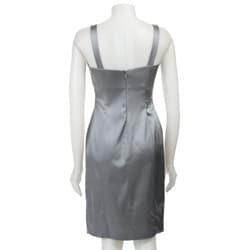 Calvin Klein Women's Silver Stretch Satin Sheath Dress - Thumbnail 1