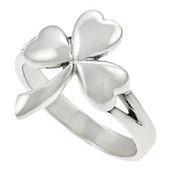 Journee Collection Sterling Silver Shamrock Ring - Thumbnail 1