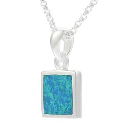 Journee Collection  Sterling Silver with Blue Opal Square Necklace - Thumbnail 1