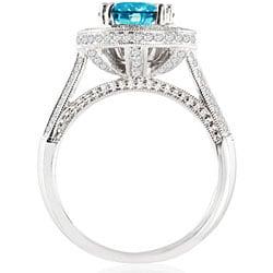 14k White Gold 2 1/2ct TDW Blue Diamond Halo Ring - Thumbnail 1