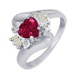 10k White Gold Created Ruby and Diamond Heart Ring - Thumbnail 1