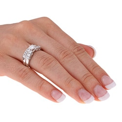 Miadora 14k White Gold 1ct TDW Diamond Bridal Set (H-J, I1) - Thumbnail 1