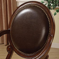 Roll Arm Bi-cast Leather Nailhead Accent Chair - Thumbnail 1