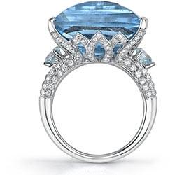 18k Gold Created Blue Topaz/ 7/8ct TDW Diamond Ring (F, SI1) (Size 6.75) - Thumbnail 1
