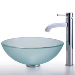 KRAUS Frosted Glass Vessel Sink in Clear with Single Hole Single-Handle Ramus Faucet in Chrome