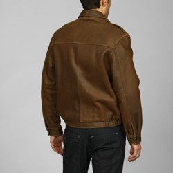 Izod Men's Big and Tall Distressed Leather Bomber Jacket - Thumbnail 1