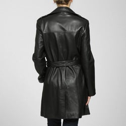 Izod Women's Plus Size New Zealand Lambskin Leather Belted Trench Coat - Thumbnail 1