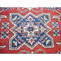 Indo Kazak Hand-knotted Red/ Ivory Rug (4'8 x 6'8) - Thumbnail 1