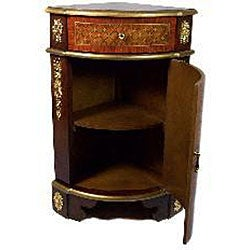 Italian Style Hand Painted Corner End Table Cabinet