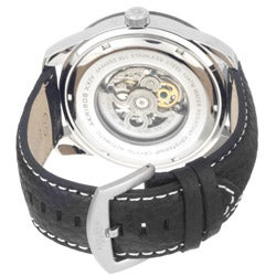 Akribos XXIV Men's 'Shutter' Automatic Skeleton Strap Watch