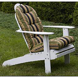 All Weather Black Stripe Outdoor Adirondack Chair Cushion