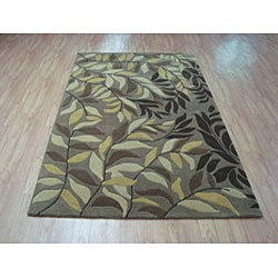 Hand-tufted Branches Beige Wool Rug (5' x 8') - Thumbnail 1