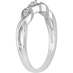 Miadora 10k White Gold Diamond Three-stone Twist Ring - Thumbnail 1