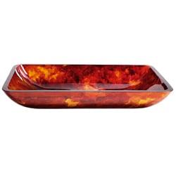 Kraus Fire Opal Rectangular Glass Vessel Bathroom Sink
