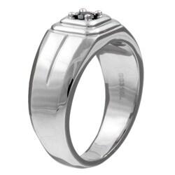 Unending Love Stainless Steel Men's 1/5ct TDW Black Diamond Ring