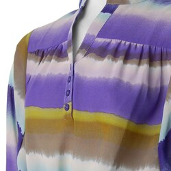 Ninety Women's 3/4-sleeve Y-neck Lavender Blouse - Thumbnail 1
