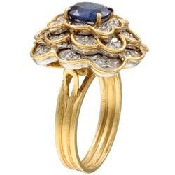 18k Gold Sapphire/ 1 1/5ct TDW Diamond Estate Ring (J, SI2) (Size 6.5)