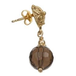 Lola's Jewelry 22k Gold Overlay Smokey Quartz Bali Earrings - Thumbnail 1
