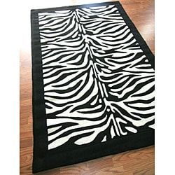 nuLOOM Hand-tufted Pino Collection Zebra Kids Black Rug (5' x 8') - Thumbnail 1