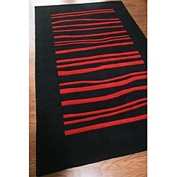 nuLOOM Hand-tufted Pino Collection Wavy Black Rug (7'6 x 9'6) - Thumbnail 1