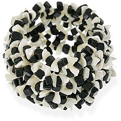 Glitzy Rocks Black Onyx and White Mother of Pearl Chip Multi-row Bracelet
