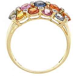 Anika and August 14k Yellow Gold Multi-colored Sapphire and Diamond Ring