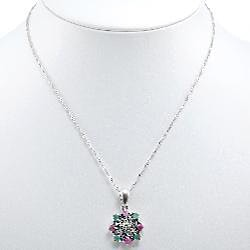 Sterling Silver Emerald and Ruby Pendant Necklace (Thailand) - Thumbnail 1