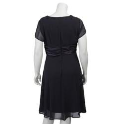 Connected Apparel Women's Plus Size Chiffon Dress - Thumbnail 1