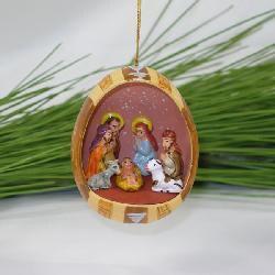 Ceramic Blue Nativity Egg Ornament (Peru) - Thumbnail 1