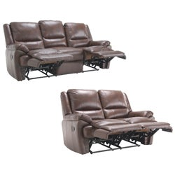 Marco Brown Reclining Leather Sofa and Leather Loveseat - Thumbnail 1