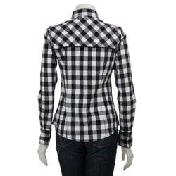 Yanuk Women's White/ Black Plaid Shirt - Free Shipping ...